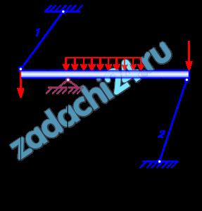 Статически неопределимые стержневые системы  Статически неопределимая стержневая система (рис. 4.7), загружена внешней нагрузкой. Первый стержень нагревается на Δt=100 ºC, а второй - изготовлен короче номинального размера на δ2=0,25 мм.  Требуется:  1 Определить усилия в стержнях, учитывая, что первый стержень стальной (модуль нормальной упругости Е1=2·105 МПа; коэффициент линейного температурного расширения αt=1,52·10-5); а второй - медный (модуль нормальной упругости Е2=105 МПа).  2 Определить напряжения в стержнях и проверить их прочность, принимая допускаемые напряжения: для стального стержня - [σ]=160 МПа, для медного - [σ]=80 МПа.  3 Из условия прочности для наиболее нагруженного стержня определить допускаемую нагрузку [F]. Числовые данные – в таблице 4.1.