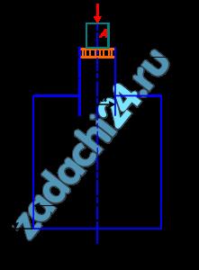 Определить модуль объемной упругости жидкости Е, если под действием груза А массой 250 кг поршень переместился на расстояние Δh=5 мм. Начальная высота положения поршня (без груза) Н=1,5 м, диаметр поршня d=80 мм, резервуара D=300 мм, высота резервуара h=1,3 м. Весом поршня можно пренебречь. Резервуар считать абсолютно жестким (рис. 1.8).
