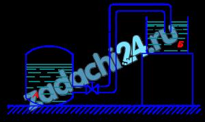 Вода перетекает из бака А в резервуар Б по трубе диаметром d=25 мм, длиной L=10 м. Определить расход Q, если избыточное давление в баке р1=200 кПа; высоты уровней Н1=1 м; Н2=5 м. Режим течения считать турбулентным. Коэффициенты гидравлического сопротивления: сужения ζсуж=0,5; крана ζкр=4; колена ζко=0,2; расширения ζрас=1; λт=0,025.
