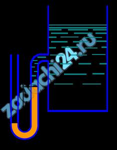 Определить абсолютное давление воздуха в сосуде, если показание ртутного прибора h=368 мм, высота Н=1 м. Плотность ртути ρ=13600 кг/м³. Атмосферное давление 736 мм рт. ст.