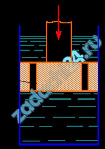 Определить скорость перемещения поршня вниз, если к его штоку приложена сила F=10 кН. Поршень диаметром D=50 мм имеет пять отверстий диаметром d0=2 мм каждое. Отверстия рассматривать как внешние цилиндрические насадки с коэффициентом расхода μ=0,82; ρ=900 кг/м³.