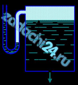 Определить расход жидкости (ρ=800 кг/м³), вытекающей из бака через отверстие площадью S0=1 см². Показание ртутного прибора, измеряющего давление воздуха, h=268 мм, высота Н=2 м, коэффициент расхода отверстия μ=0,60.