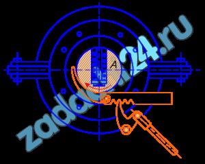 Предохранительный выключатель паровых турбин состоит из пальца А массы m=0225 кг, помещенного в отверстии, просверленном в передней части вала турбины перпендикулярно оси, и отжимаемого внутрь пружиной; центр тяжести пальца отстоит от оси вращения вала на расстоянии l=8,5 мм при нормальной скорости вращения турбины n=1500 об/мин. При увеличении числа оборотов на 10% палец преодолевает реакцию пружины, отходит от своего нормального положения на расстояние х=4,5 мм, задевает конец рычага В и освобождает собачку С, связанную системой рычагов с пружиной, закрывающей клапан парораспределительного механизма турбины. Определить жесткость пружины, удерживающей тело А, т.е. силу, необходимую для сжатия ее на 1 см, считая реакцию пружины пропорциональной ее сжатию.