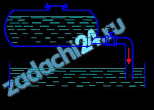 Бензин сливается из цистерны по трубе диаметром d, на которой установлен кран с коэффициентом сопротивления ζкр=3,5. Определить расход бензина при Н1 и Н2, если в верхней части цистерны имеет место вакуум hвак=73,5 мм рт. ст. Потерями на трение в трубе пренебречь.