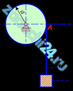 Определить движение груза массы m, висящего на однородном тросе массы m1 и длины l. Трос навернут на барабан радиуса a и массы m2. Ось вращения горизонтальна. Трением пренебречь. Массу барабана считать равномерно распределенной по его ободу. В начальный момент t=0 система находилась в покое, длина свисавшей части троса l0.