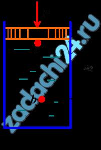 Определить избыточное давление в точке с под поршнем, а также, на какой глубине должна находиться точка b, чтобы избыточное давление в этой точке было в два раза больше, чем в точке c. Диаметр поршня d=0,4 м, а сила, действующая на поршень, Р=24 кН. Плотность жидкости ρ=950 кг/м³ (рис. 2.11).