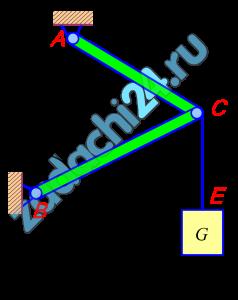 Определить реакции связей, удерживающих узел С (шарнир С) или абсолютно твердое тело (однородный диск) в состоянии равновесия. Сила тяжести диска или подвешенного груза, или приложенные силы приведены в таблице исходных данных. Груз G или G1 повешен на канате, перекинутом через блок C.