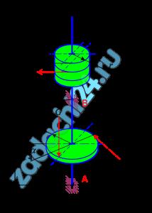 Задача С.2. Равновесие вала  К валу со шкивами радиусов R, r, установленному в радиально – упорном и радиальном подшипниках A и B приложены силы P, Q, G. Сила Q расположена в плоскости шкива радиуса R и направлена по касательной к его окружности. Размеры, углы и величины сил Q, G приведены в табл. 1.2.  Определить величину силы P при равновесии вала, а также реакции подшипников A и D.  Указания  При вычислении момента силы Q относительно координатных осей, перпендикулярных оси вала, удобно разложить ее на две составляющие, расположенные в плоскости диска и параллельные этим осям. Необходимо помнить, что момент силы относительно оси равен нулю, если линия действия силы параллельна или пересекает ее.