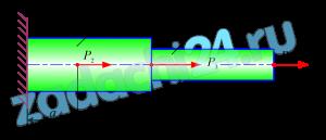Практическая работа на растяжение и сжатие  Цель: Научиться строить эпюры продольных сил Nz и нормальных напряжений σ и производить проверочный расчет.  Задача. Двухступенчатый брус в соответствии с рисунком нагружен силами Р1=15 кН; Р2=10 кН; Р3=5 кН и площадями поперечных сечений А1=1,2 см²; А2=2,0 см².  а) построить эпюры продольных сил Nz и нормальных напряжений σ;  б) проверить условие прочности, если [σ]=160 МПа;  в) определить удлинение (укорочение) бруса Δl, если а=0,2 м, b=0,4 м, с=0,5 м, Е=2·105 МПа.