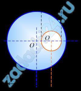 Определить положение центра тяжести однородного диска с круглым отверстием, предполагая радиус диска равным r1, радиус отверстия равным r2 и центр этого отверстия находящимся на расстоянии r1/2 от центра диска.